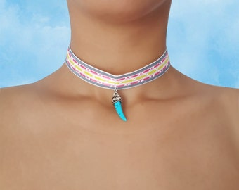 ChaCha - Woven - Tribal Print - Choker - with - Tiger Tooth Pendant
