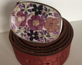 115cm belt in leather and buckle with real flowers