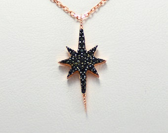 North Star Necklace, Womens Necklace, Rose plated 925 Silver Necklace, North Star Jewelry, Mothers Day Gift