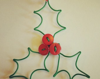 Holly Decoration with wire and buttons