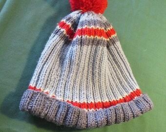 Hand knitted beanie hat boys girls kids pom pom red white blue handmade vintage 80s winter.