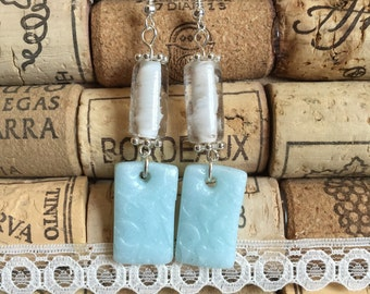 Blue shimmer polymer clay and flass bead earrings