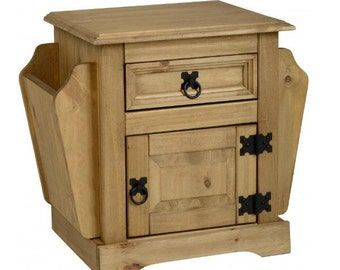 Magazine table drawer - bedside vintage table / Table magasine - table de chevet