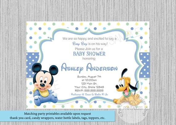 shower baby bebe invitaciones mickey ducha Dots bebé Mouse Mickey Mickey bebé invitaciones Polka