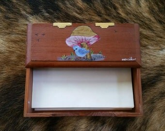 Vintage wooden notepad holder