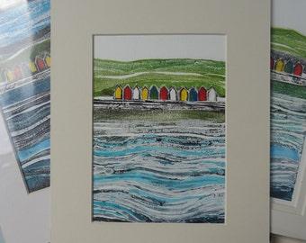 Original Collagraph Print - Whitby Beach Huts