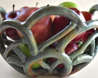 Teal Coiled Handmade Pottery Basket