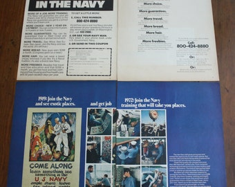 Vintage Navy Recruitment 3 Ads from Life Magazine 1970s Free Shipping
