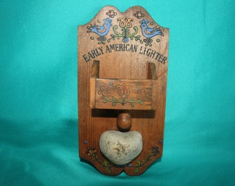 """Wooden wall hanging match holder with rock match striker Painted Dutch design, """"Early American Lighter"""""""