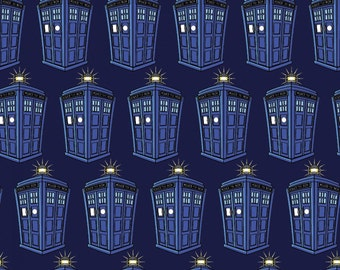 "Bbc Doctor Who Police Public Call Box 100% cotton 44"" wide fabric by the yard,g280"