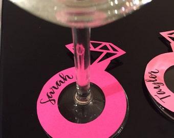 Custom caligraphy Diamond ring wine glass tags