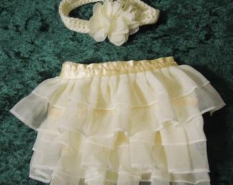 Newborn Diaper Cover Set Photography Props, Ruffled Diaper Cover, Newborn Diaper Cover and Headband, Newborn Photo Prop,