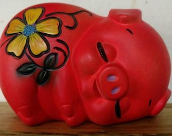 Vintage 1960s 1970s psychedelic floral orange red pig piggy bank groovy sleepy adorable