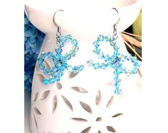 ER14- Dazzling Swarovski Crystal Aqauamarine Ribbon Dangle Earrings