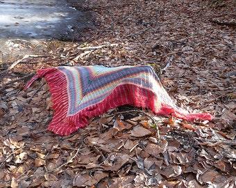 Brioche Shawl Knitting Pattern, tuck stitch, triangle wrap, two colors, simple brioche, easy pattern, ladies accessory, sock yarn, lace yarn