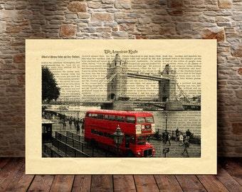 London Art Print, London City Print, Wall Art, London Red bus, London Dictionary Print, City print, Home Decor,Travel, London Print -48