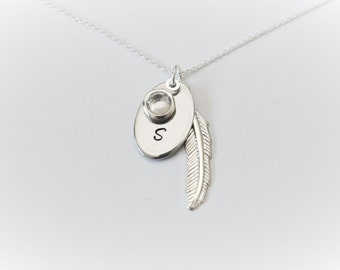 Initial with choice of birthstone charm on Sterling Silver Necklace