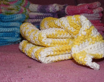 Hand Crochet Dish or Wash Cloths- Yellow to White Tones- Hand Made