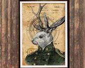 Quirky home decor Patent print Jackalope print Rabbit poster Steampunk print SOL203
