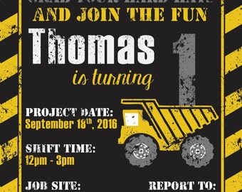 Construction Birthday Invitation for Kids - Birthday Card - Boy Birthday - Dump Truck - Job Site - Personalized Invitation - Building