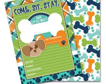 DIY Fill In Pampered Pooch Digital Printable Boys Birthday Party Puppy Dog Invitation INSTANT DOWNLOAD