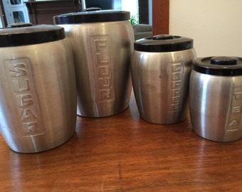 Vintage Japan Coffee Flour Tea Kitchen Aluminum Canister Set!