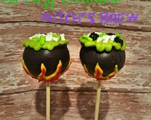 One Dozen Witch Cauldron Cake Pops- 12 Witch's Brew Cake Pop with Candy Bones and Bugs, Party Favor Sweets Halloween Trick or Treat Fall