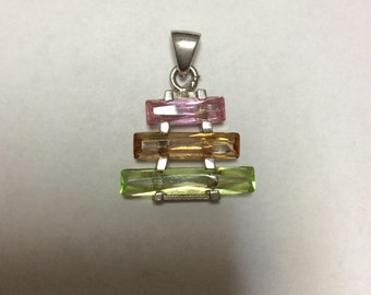 Pastel Cz Pendant set in Sterling Silver 925