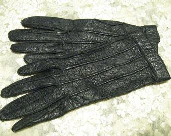 Vintage Small Black Leather Ladies Gloves