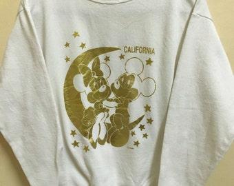 Vintage 90's Mickey Minnie Mouse Walt Disney Tokyo Disneyland Cartoon Classic Design Skate Sweat Shirt Sweater Varsity Jacket Size M #A307