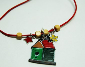 Charm necklace with black cat - Red necklace with black cat