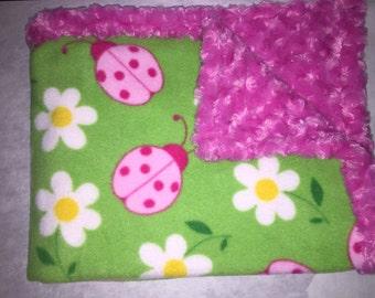 Lady bug minky baby blanket, throw blanket
