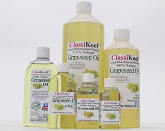 Classikool Pure Grape Seed Oil in 6 Size Options (Free UK Mainland Shipping)