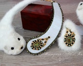 White Mink Leather Swarovski Crystal ELEMENTS Charm Necklace. Exclusive bead embroidered fur necklace. Fur jewelry, beaded jeweled mink.