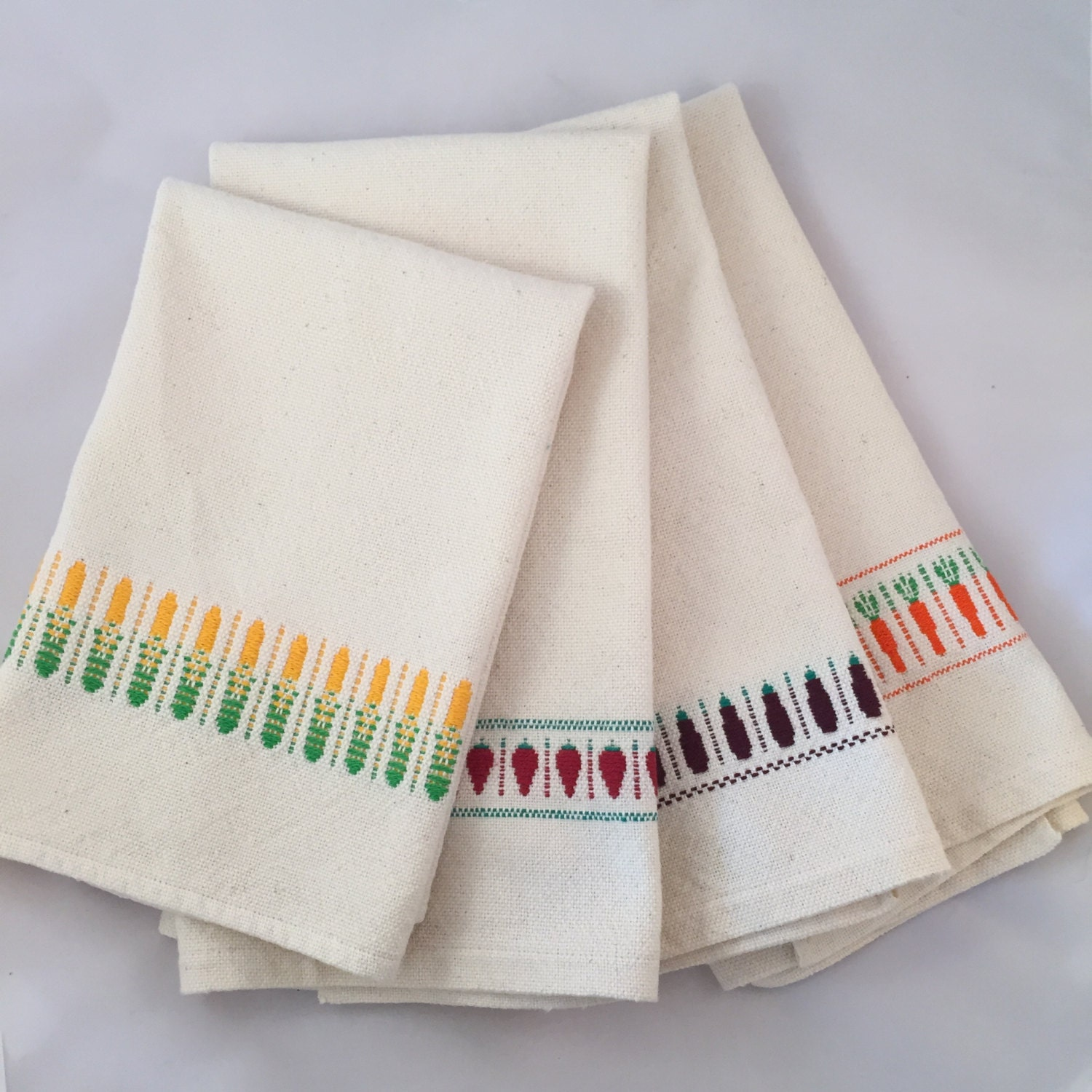 Garden Kitchen Towels. Hand Woven Cotton Dish Towels With