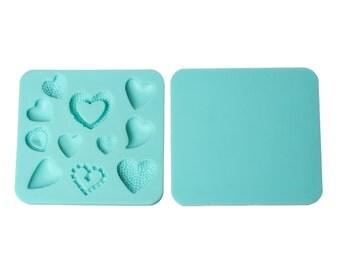 Square Mint Green Heart Pattern