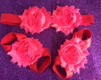 Rose Chiffon Baby Footless Sandals