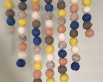 Felt Ball Wall Hanging - Pastel, Yellow & Blue