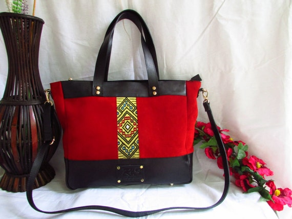 Red leather handbag, red women tote, red shoulder bag, leather handbag, leather shoulder bag, women leather tote, large women tote