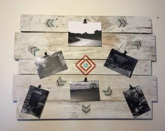 Southwestern decor, southwestern picture collage, photo memory board, memory board, reclaimed collage board, picture board, farmhouse decor