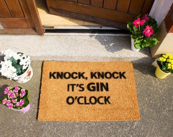 Knock Knock It's Gin O'Clock doormat - 60x40cm