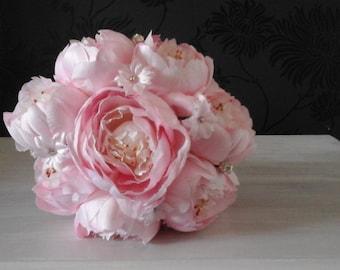 blush pink peony silk wedding bouquet pink peony bouquet brides bouquet bridesmaid bouquet wedding bouquet peony bouquet silk peony bouquet