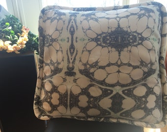 Lina Rennell Quilted Silk Pink Marble Pillow