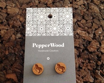 Wooden horse laser cut 12mm earrings