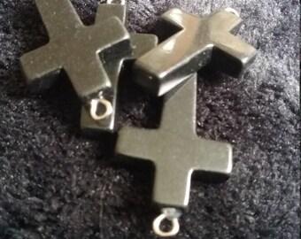 Black Onyx Gemstone Cross Pendant / Charm