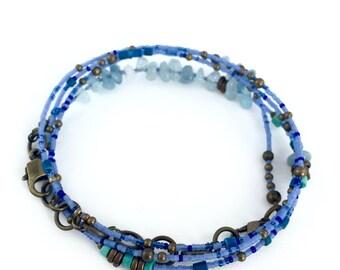 Mens Bracelet or Necklace- Aquamarine, Sky Blue and Bronze