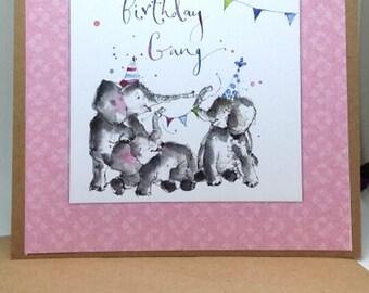 Pink elephants birthday card, free shipping