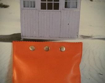 Orange lambskin pouch
