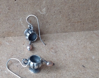 Unique Sterling Cup Dangle Earring Handcrafted Silver