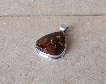 Danish Sterling Silver & Natual Amber Pendant